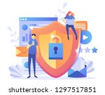 data protection concept.safety... | Shutterstock .eps vector #1297517851