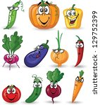 cartoon vegetables and fruits | Shutterstock .eps vector #129752399