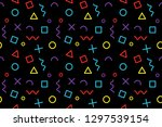 memphis pattern  trendy vector... | Shutterstock .eps vector #1297539154