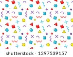 memphis pattern  trendy vector... | Shutterstock .eps vector #1297539157