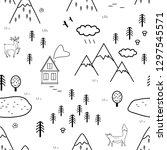 hand drawn scandinavian...   Shutterstock .eps vector #1297545571