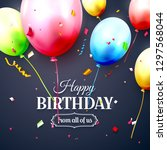 happy birthday greeting card... | Shutterstock .eps vector #1297568044