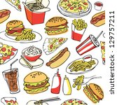fast food seamless background | Shutterstock .eps vector #129757211
