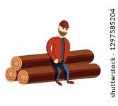 lumberjack on log stack icon.... | Shutterstock .eps vector #1297585204