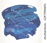 gemini hand drawn zodiac sign... | Shutterstock .eps vector #1297590691
