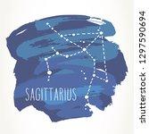 sagittarius hand drawn zodiac... | Shutterstock .eps vector #1297590694