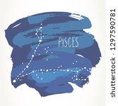 pisces hand drawn zodiac sign... | Shutterstock .eps vector #1297590781