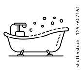vintage bathtub icon. outline...   Shutterstock .eps vector #1297607161