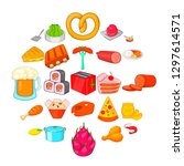 evening meal icons set. cartoon ... | Shutterstock .eps vector #1297614571