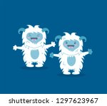 Stock vector modern flat design concept of angry snowman monster white bigfoot yeti sasquatch for website 1297623967