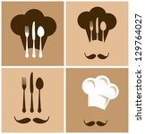 chef hat with fork knife and... | Shutterstock .eps vector #129764027