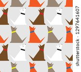 seamless pattern with dogs....   Shutterstock . vector #1297641607