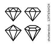 crystal stone line icons set... | Shutterstock .eps vector #1297656424