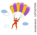 parachuting. single skydiving. ...   Shutterstock .eps vector #1297657054