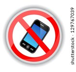 red sign banning cell phones. a ...   Shutterstock .eps vector #129767039