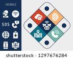 mobile icon set. 13 filled... | Shutterstock .eps vector #1297676284