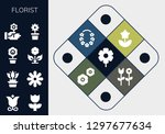 florist icon set. 13 filled... | Shutterstock .eps vector #1297677634