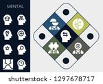 mental icon set. 13 filled... | Shutterstock .eps vector #1297678717