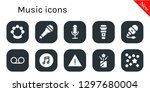 music icon set. 10 filled...