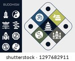 buddhism icon set. 13 filled... | Shutterstock .eps vector #1297682911