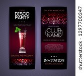 disco invitation to cocktail...   Shutterstock .eps vector #1297700347