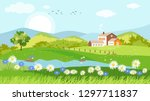 panorama view of spring village ... | Shutterstock .eps vector #1297711837