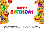 funny birthday party background ...   Shutterstock .eps vector #1297718947