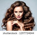 beautiful caucasian woman with... | Shutterstock . vector #1297724044