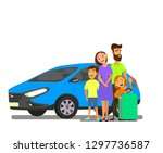 happy family near the car with... | Shutterstock .eps vector #1297736587