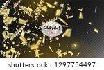 modern realistic gold tinsel...   Shutterstock .eps vector #1297754497