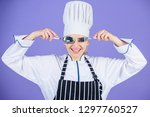 woman professional chef hold...   Shutterstock . vector #1297760527