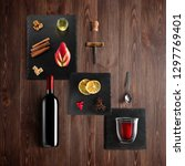 mulled wine recipe ingredients... | Shutterstock . vector #1297769401