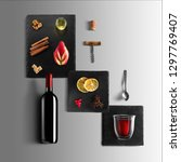 mulled wine recipe ingredients... | Shutterstock . vector #1297769407