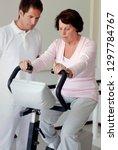 senior woman exercising on... | Shutterstock . vector #1297784767
