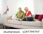 senior women friends at home... | Shutterstock . vector #1297799797