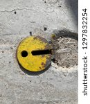 yellow circle with hole and... | Shutterstock . vector #1297832254