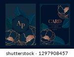 navy wedding invitation  floral ... | Shutterstock .eps vector #1297908457