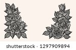 rose lace ornament vector by... | Shutterstock .eps vector #1297909894