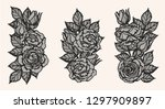 rose lace ornament vector by... | Shutterstock .eps vector #1297909897