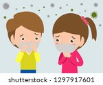 pm 2.5 of kids in masks because ... | Shutterstock .eps vector #1297917601