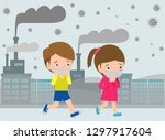 kids in masks because of fine... | Shutterstock .eps vector #1297917604