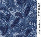 denim floral seamless pattern... | Shutterstock .eps vector #1297918447