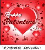 happy valentine's day card with ... | Shutterstock .eps vector #1297928374
