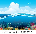 nature vector seascape with... | Shutterstock .eps vector #129793715