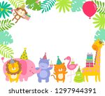 cute safari animals cartoon... | Shutterstock .eps vector #1297944391