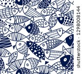 Blue Fish Vector Seamless...