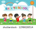 illustration of kids going to... | Shutterstock .eps vector #1298028514
