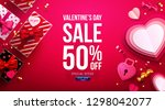 valentine's day sale poster or... | Shutterstock .eps vector #1298042077