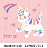 cute trendy unicorn cat with... | Shutterstock . vector #1298057101