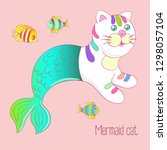 cute mermaid cat with colorful... | Shutterstock . vector #1298057104